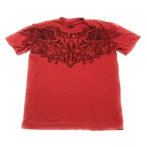 Affliction Two Skulls Cross Wings Red T Shirt 2XL
